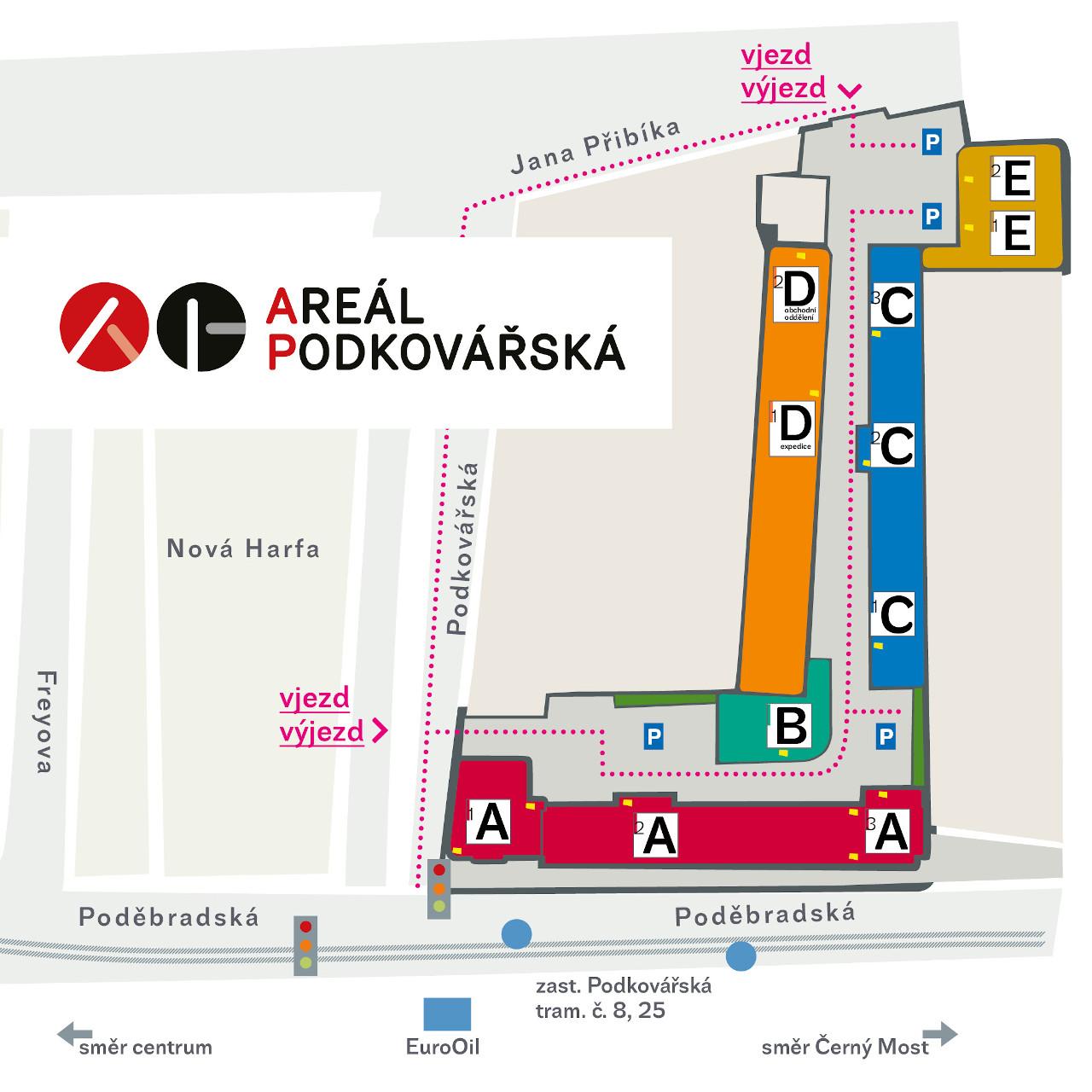 mapa Areál Podkovářská